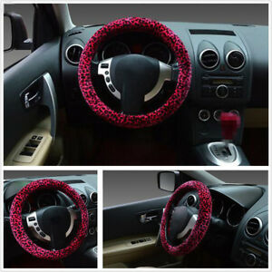 1x Auto Car Steering Wheel Cover Leopard Plush Warm Non Slip For Girl Lady Women
