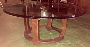 Henredon Beveled Glass Top Round Coffee Table Mid Century Modern
