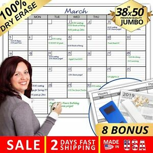 Dry Erase Monthly Laminated Jumbo Wall Calendar 38 inch By 50 inch