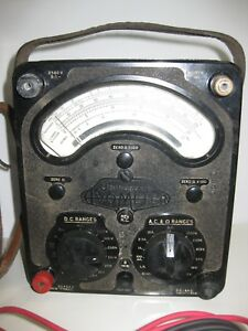 Universal Avometer Volt ohm ammeter Multimeter 1940s W Leather Case And Cables