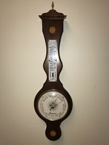 Banjo English Wall Thermometer Barometer Inlaid Rosewood Rapport Made In England