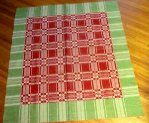 Primitive Style Woven Coverlet Tablecloth Cover Green Red Wool Cotton 60x58