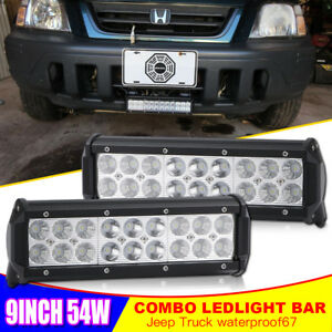 2x 9 In Led Off Road Light Bar Combo Driving For Tractor 4x4wd Fog Lights 10