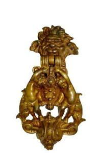Exceptional Victorian French Antique Large Bronze Door Knocker Putto Mascaron