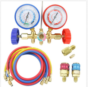 Hkatops A c Manifold Gauge Set R134a Refrigeration Kit Brass 5ft Colored Hose