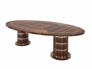 Oval Art Deco Design Dining Table Made Of Macassar