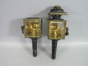 Brass Glass Sconce Lanterns Pair Of 2 Carriage Lamps Candle Holders Antique