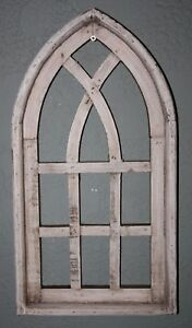 Wooden Antique Style Church Window Frame Primitive Wood Gothic 18 3 4 Shabby