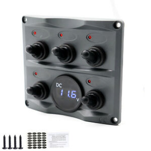 Car 12 24v Toggle Switch Panel With Digital Battery Gauge dark Gray Waterproof
