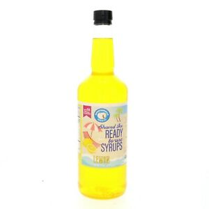 Snow Cone Or Hawaiian Shaved Ice Syrup Lemon Flavor Ready To Use Quart Size