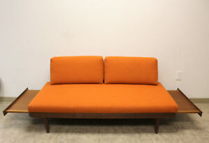 Mid Century Couch Sofa Daybed With Pull Out End Tables