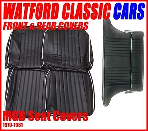 Mgb Gt Front And Rear Seat Covers 1972 1981 Black With White Piping