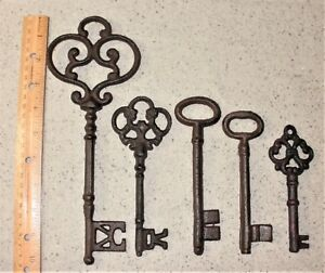 Mixed Lot Of 5 Ornate Cast Iron Rust Antique Style Skeleton Keys 2