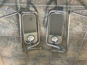 Original West Coast Semi Truck Mirrors Pair With Full Brackets Vtg