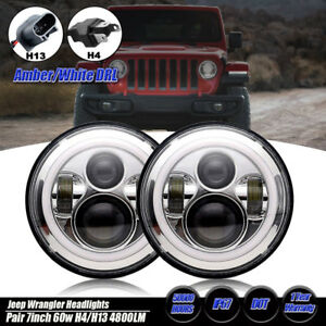 2x 7inch Led Halo Angel Eyes Headlight Daymaker Projector For Jeep Wrangler
