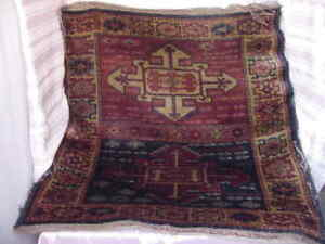 Antique Mid Eastern Country Turkey Persian Area Carpet Vintage Rug Square Sz