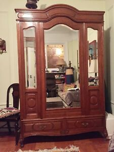 Antique Oak Wardrobe Armoire