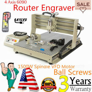 Usb 4 Axis Cnc 6090 Router Engraver 3d Milling Drilling Machine 1500w handwheel