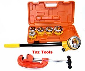 Pipe Threader Ratchet Type With 6 Stock Dies And Pipe Cutter Plumbing Tools H d
