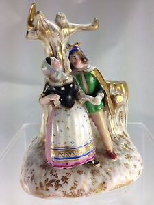 Antique Rare Old Porcelain Staffordshire Small Figurine Match Holder