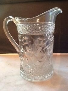 Glass Pitcher Eapg Pressed Glass Pitcher 7 5
