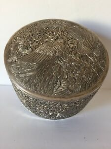 Antique Chinese Export Very Large Solid Round Silver Box Container Hallmark