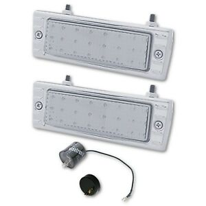 47 53 Chevy Truck Stainless Led Clear Park Light Lens Assembly W Flasher Pair
