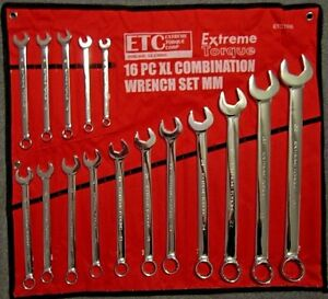 Extra Long 16 Pc Metric Combination Wrench Set Extreme Torque Etc 12 Point Xl