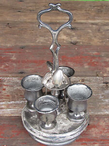 Antique Silverplate 4 Cup 4 Spoon Egg Cup Cruet Serving Set Caddy As Is Maker