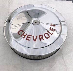 Chrome Air Cleaner Chevrolet Red Logo Silk Screen Not A Decal 14x3 350 396 454