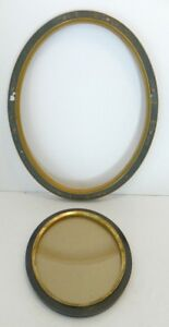 2 Vintage Antique Wooden Oval Picture Frames Gesso Flowers Wavy Old Glass