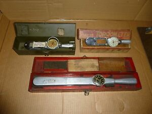3 Vintage Snap On Torqometer Automotive Torque Wrench Measuring Tools Used