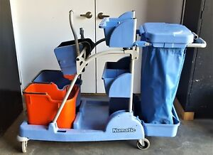 Numatic Commercial Janitorial Cleaning Cart Rolling With Bag And Wringer Bucket