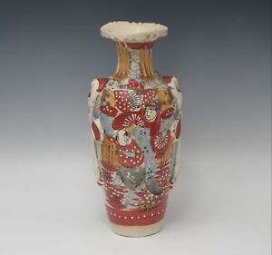 Antique Satsuma Meiji Era Samurai Figural Handle Vase Gorgeous Colors