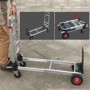2in1 Aluminum Hand Truck Convertible Folding Dolly Platform Cart 200kg Capacity