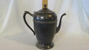 F B Rogers Silver Over Copper Tea Coffee Pot Numbered 2310 Aged Patina