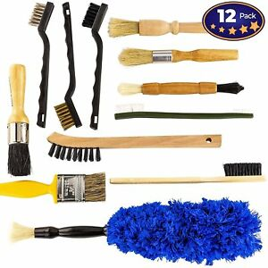 Pro Grade Auto Detailing Brush Kit 12 Pack Ultra Value Set For Interior And
