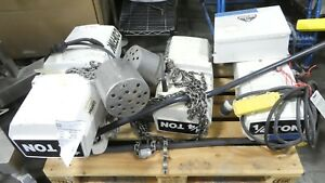 R146011 Lot Of 1 4 Ton Coffing Electric Chain Hoists W Controller