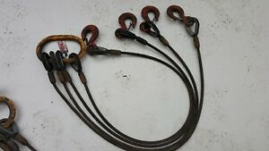 Penco 1 2 Wire Rope 4 Leg 5 Ft Rigging Lifting Sling With Crosby Hooks 8 8 Ton