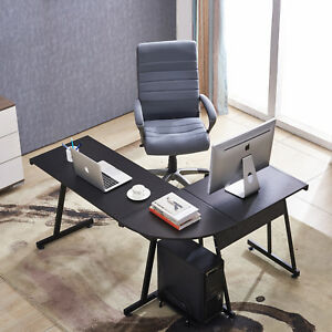 Office Desk Corner L Shaped Workstation With Keyboard Tray And Cpu mfb Black