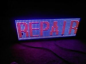 Olive Led Sign 2 Color Red Blue 12 x31 Ir Programmable Indoor Lightly Used