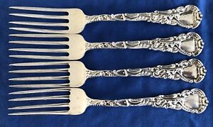 4 Antique Duhme Sterling Silver Lunch Forks Unknown Pattern 7 5 Rococo Olive