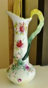 Beautiful Porcelain Antique Vienna Austria Hand Painted Ewer Pitcher Roses D1901