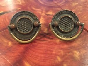Set Of 2 Antique Colonial Brass Drop Ring Drawer Pulls Cabinet Door Handle Lot