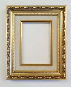 Picture Frame 5x7 Vintage Antique Style Baroque Gold Ornate Linen W Glass 139g