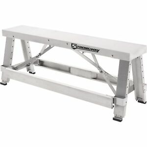 Strongway Adjustable Drywall Bench 500lb Cap Top 250lb Cap Side Step 18in 30in