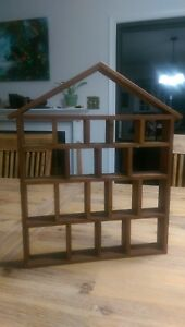 Vintage House Shaped Curio Cabinet Shadow Box Miniatures Cute Boho Handmade