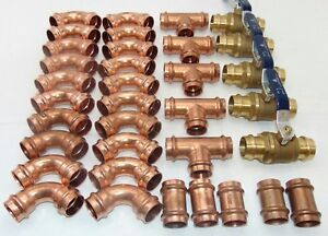 lot Of 35 1 Propress Copper Fittings tees Elbows Coupling Press Ball Valves