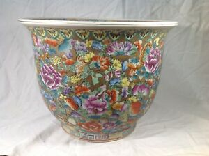 20th Republic Chinese Famille Rose Millefleurs Flowers Planter