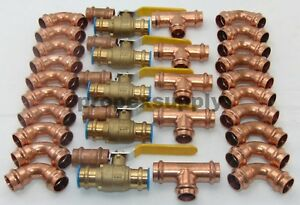 lot Of 35 3 4 Propress Copper Fittings tee Elbow Coupling Press Ball Valves